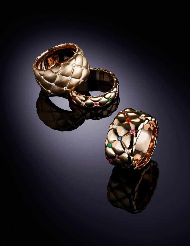 Fabergé Moodshot Treillage Rose Gold Thin & Wide Multi-coloured, Diamond Rings