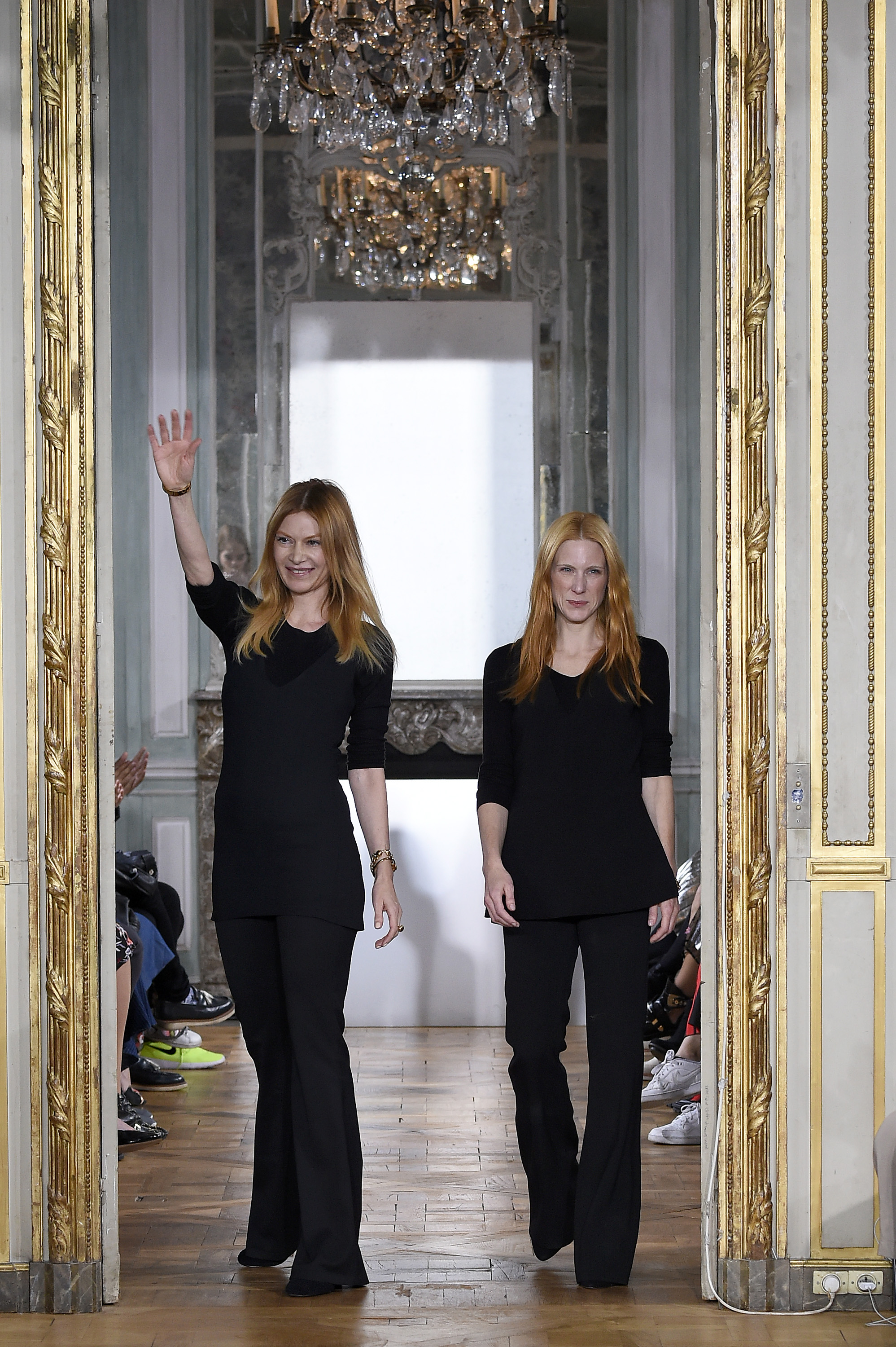 PARIS, FRANCE - OCTOBER 01: Creative Directors Johanna Kuehl and Alexandra Fischer-Roehler acknowledge the audience during theKaviar Gauche show as part of Paris Fashion Week Womenswear Spring/Summer 2017 on October 1, 2016 in Paris, France. (Photo by Kristy Sparow/Getty Images for Kaviar Gauche) *** Local Caption *** Johanna Kuehl; Alexandra Fischer-Roehler